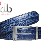 Silver Prong Classic Buckle with Blue Crocodile Patterned Leather Belt