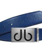 Full Grain Leather Belt in Blue with Blue 'db' infill Buckle