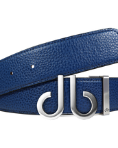 Full Grain Leather Belt in Blue with Brushed Silver 'db 'Icon Buckle