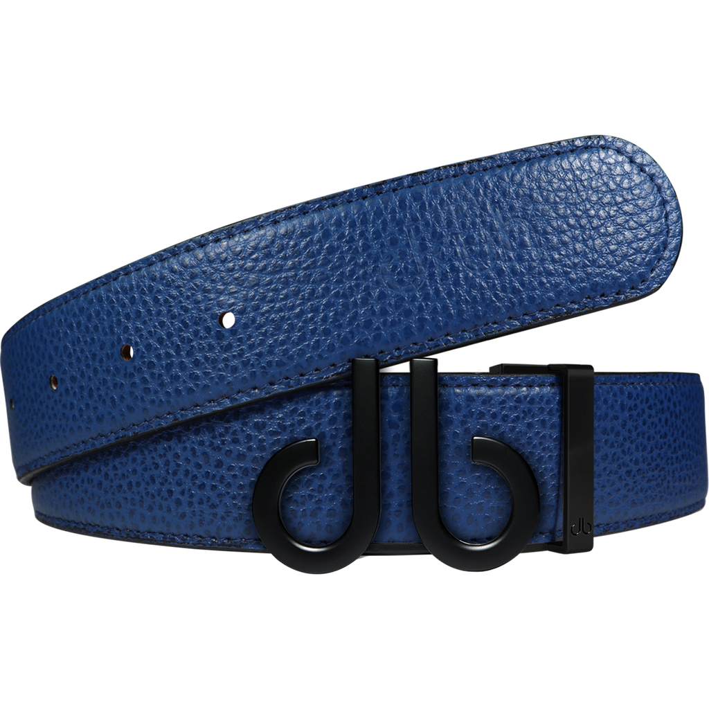 Full Grain Leather Belt in Blue with Matte black 'db' Icon Buckle