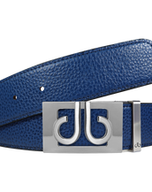 Full Grain Leather Belt in Blue with Silver 'db' Thru Buckle