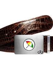 Arnold Palmer Ballmarker Buckle with Dark Brown Crocodile Patterned Leather Belt
