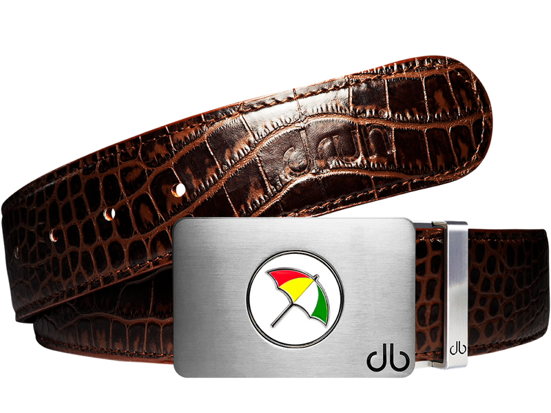 Arnold Palmer Ballmarker Buckle and Crocodile Leather Belt in Dark Brown