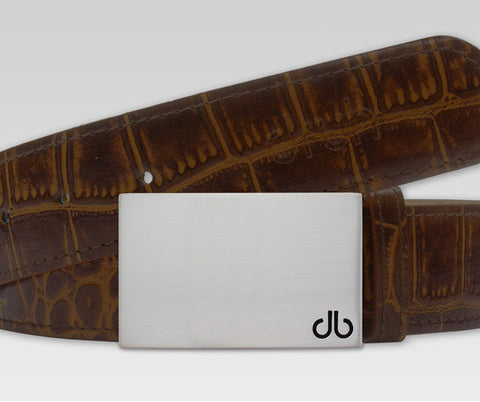 Dark Brown Crocodile Textured Leather Belt with db Classic Block Buckle