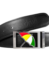 Arnold Palmer Umbrella Buckle and Full Grain Leather Belt in Black