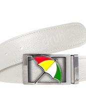 Arnold Palmer Umbrella Buckle and Full Grain Leather Belt in White