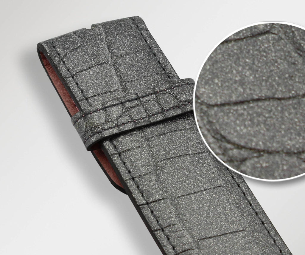 Graphite Crocodile Texture Leather Belt