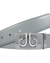 Plain Leather Belt in Grey with Silver 'DB' Thru Buckle