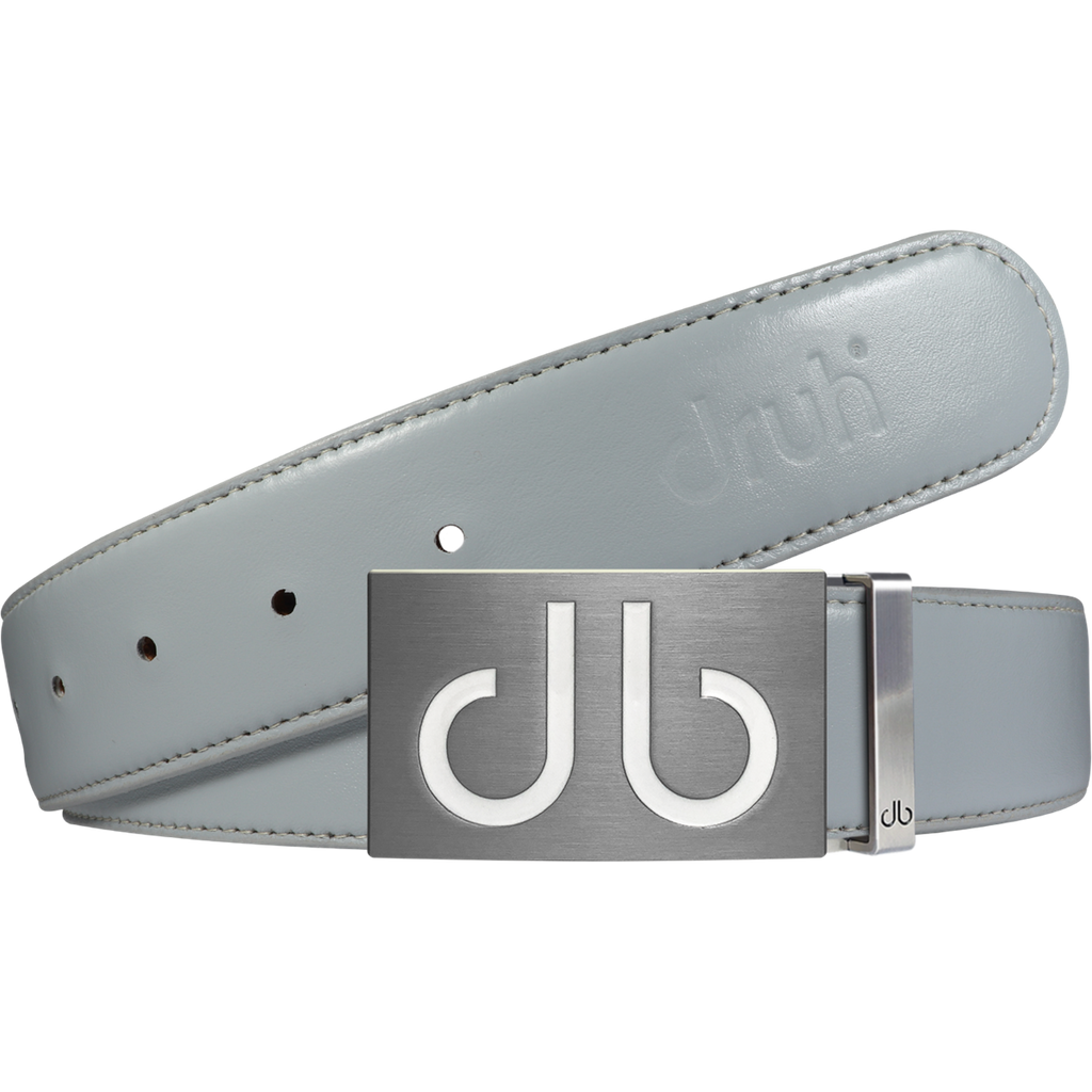 Full Grain Leather Belt in Grey with white 'db' infill Buckle