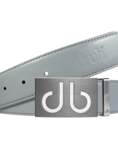 Plain Leather Belt in Grey with white 'DB' infill Buckle