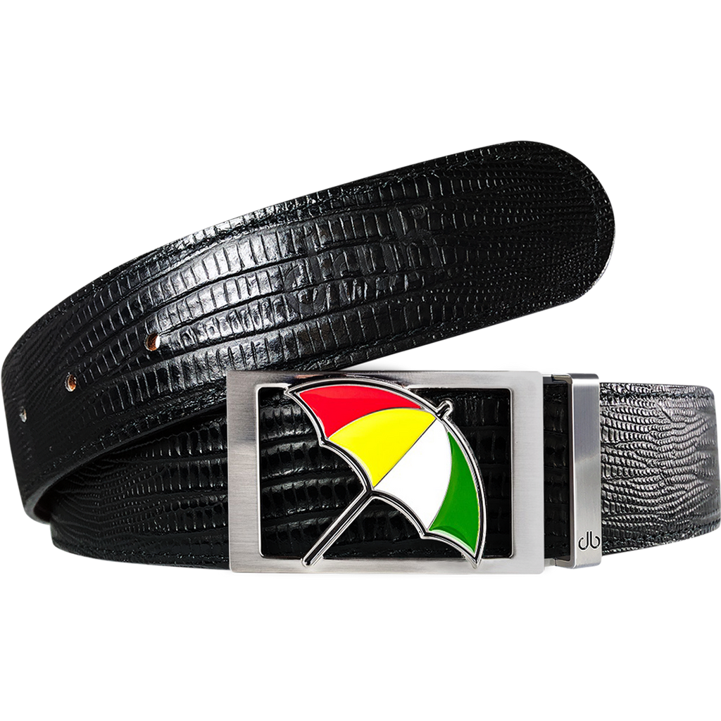Arnold Palmer Umbrella Buckle and Lizard Leather Belt in Black