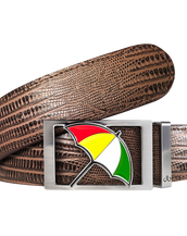 Arnold Palmer Umbrella Buckle and Lizard Leather Belt in Brown