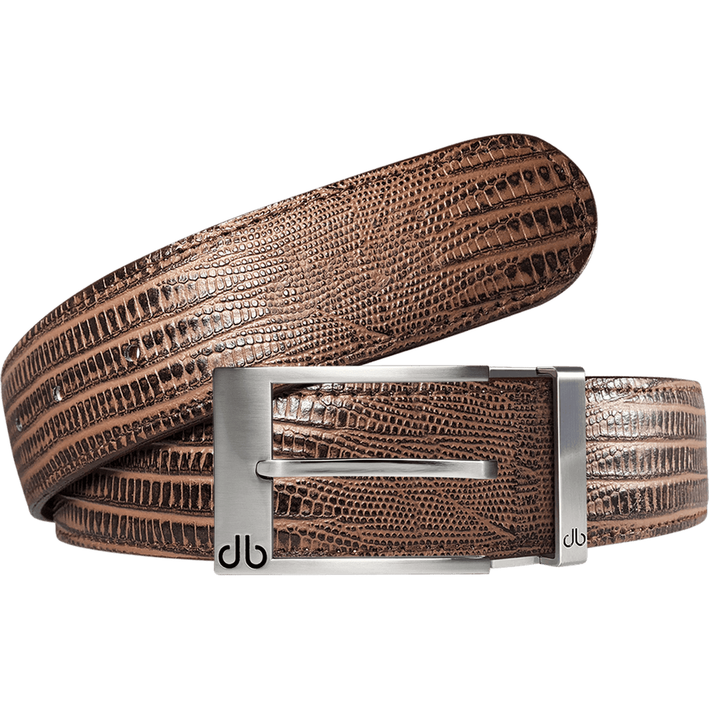 Brown Lizard Textured Leather Belt with Prong Buckle