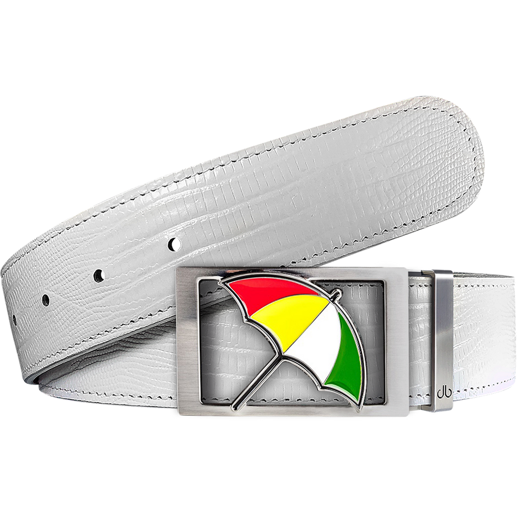 Arnold Palmer Ballmarker Buckle and Lizard Leather Belt in White