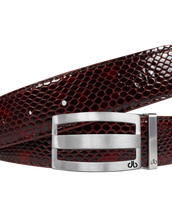 Shiny Snakeskin Texture Burgundy & Black with Silver 'DB' Classic Stripe Buckle
