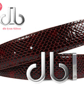 Shiny Snakeskin Texture Burgundy & Black with Brushed Silver 'db'Icon Buckle