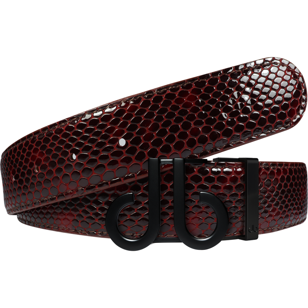 Shiny Snakeskin Texture Burgundy & Black with Matte DB Icon Buckle