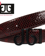 Burgundy & Black Shiny Snakeskin Texture Leather Belt with DB Icon Buckle - Matte Black