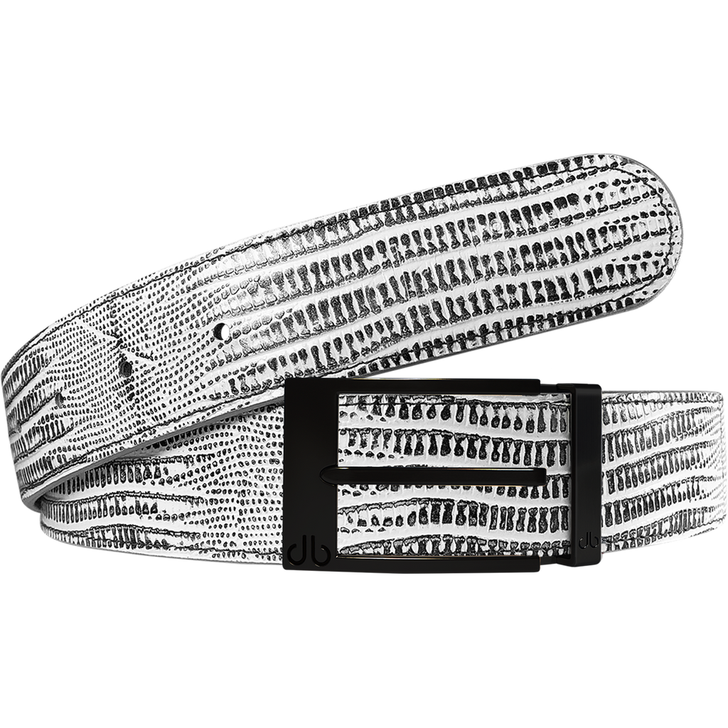 Black and White Lizard Texture Leather Belt with Matte Prong Buckle