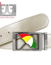White Snakeskin Patterned Leather Belt with Arnold Palmer Umbrella Buckle