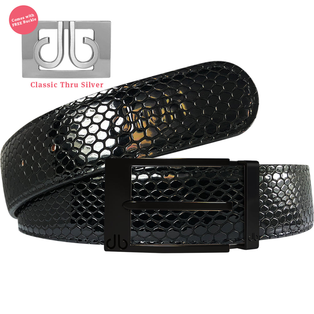 Shiny Black Snakeskin Patterned Leather Belt with Classic Prong Buckle - Black