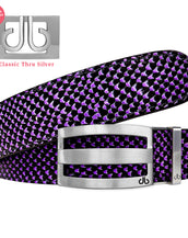 Silver Stripe Classic Buckle and Black & Purple Snakeskin Patterned Leather Belt