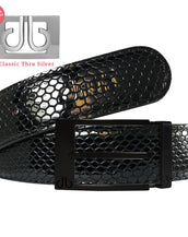 Matte Black Prong Classic Buckle with Black Shiny Snakeskin Patterned Leather Belt