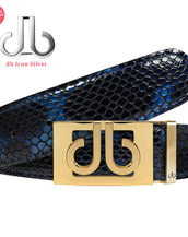 Shiny Snakeskin Texture Belt Blue & Black with Gold 'DB' Thru Buckle