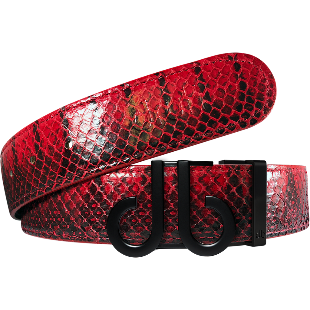 Red Snakeskin Texture Leather Belt with Matte DB Icon Buckle