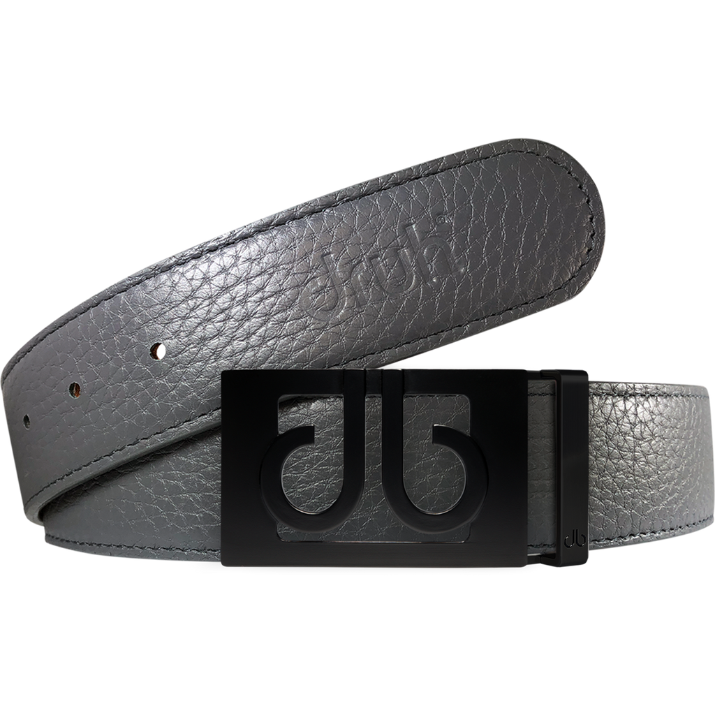 Gray Full Grain Texture Leather Belt with Matte Classic Buckle