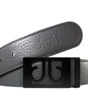 Grey Full Grain Patterned Leather Belt with Matte Classic Buckle