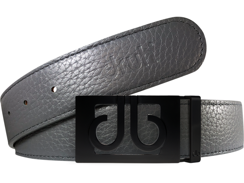 Grey Full Grain Texture Leather Belt with Classic Buckle - Matte Black