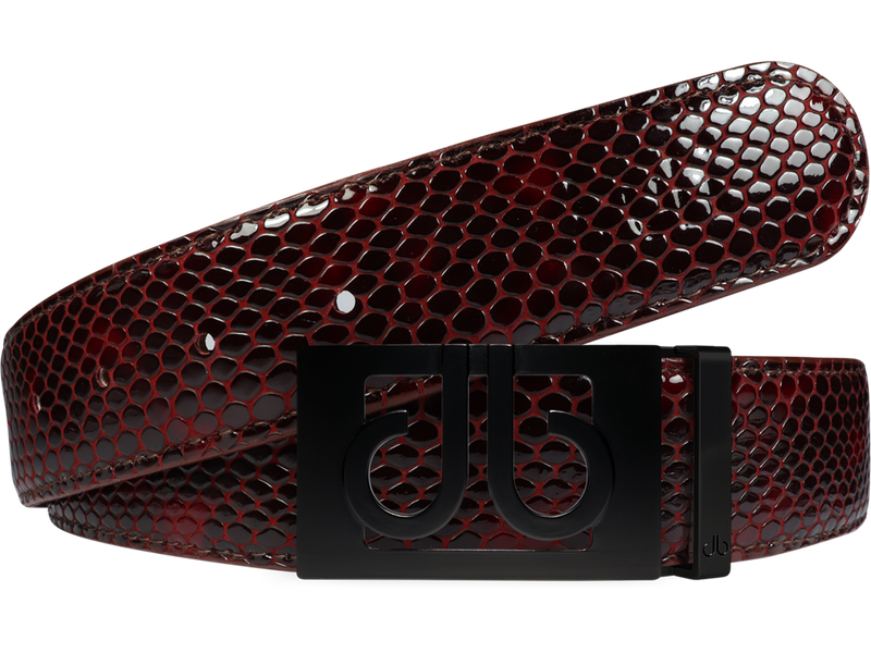 Burgundy & Black Shiny Snakeskin Texture Leather Belt with Classic Buckle - Matte Black