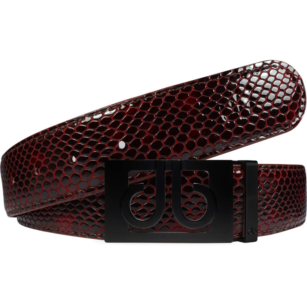 Shiny Snakeskin Texture Belt Burgundy & Black with Matte Classic Buckle