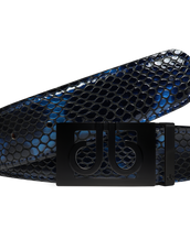 Shiny Snakeskin Texture Belt Blue & Black with Matte Classic Buckle