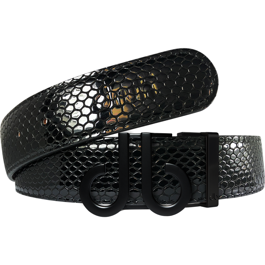 Black Snakeskin Texture Leather Belt with Matte DB Icon Buckle