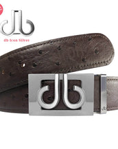 Silver Thru Classic Buckle with Brown Ostrich Patterned Leather Belt