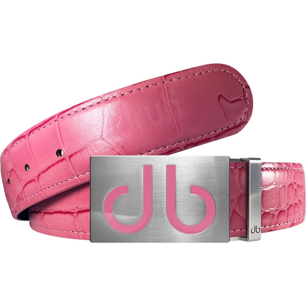 Pink Crocodile Leather Designer Golf Belt