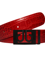 Red Crocodile Textured Leather Belt with Classic Matte Black Buckle
