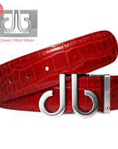 Red Crocodile Textured Leather Belt with Classic Silver DB Icon Buckle