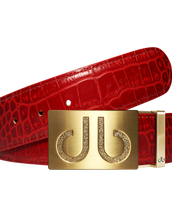 Red Crocodile Textured Leather Belt with Classic Gold Buckle