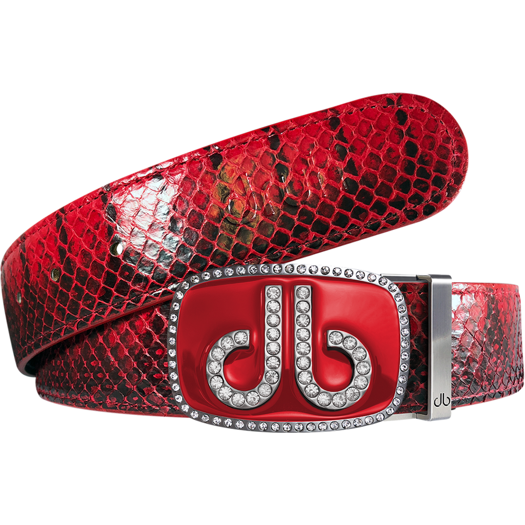 Red Real Snakeskin Leather Belt with Diamante Red Buckle