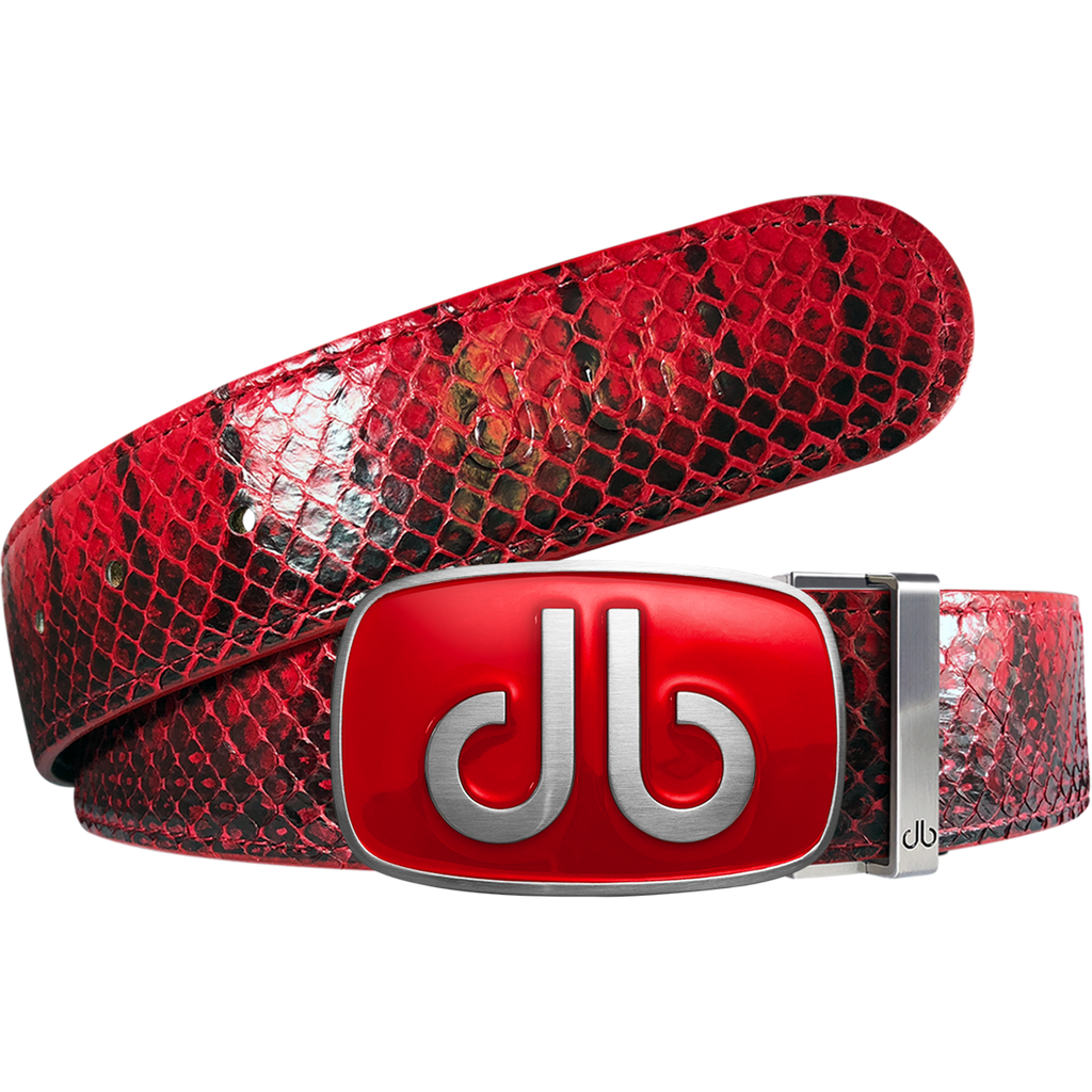 Red Real Snakeskin Leather Belt with Infill Red Buckle