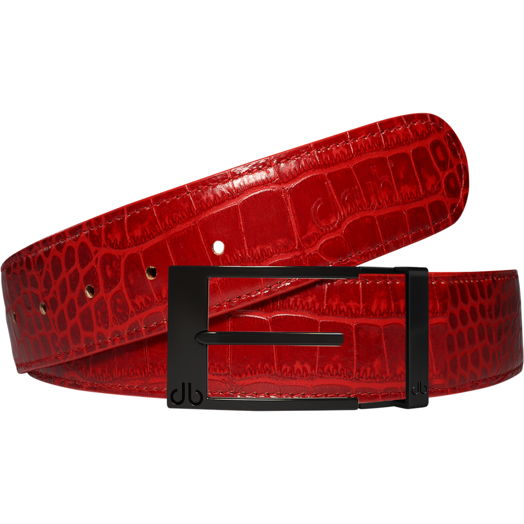 Red Crocodile Leather Belt with Class Matte Prong Buckle