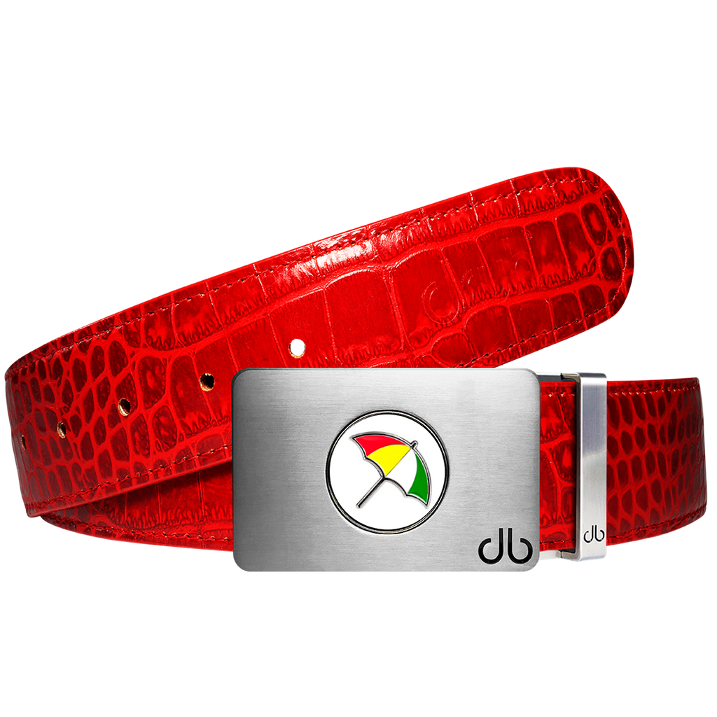 Arnold Palmer Ballmarker Buckle and Crocodile Leather Belt in Red