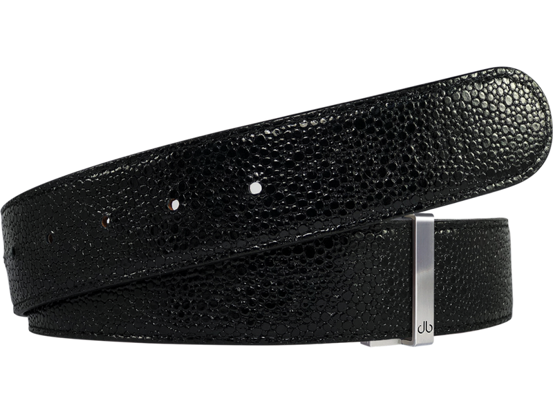 Shiny Black Stingray Textured Leather Belt
