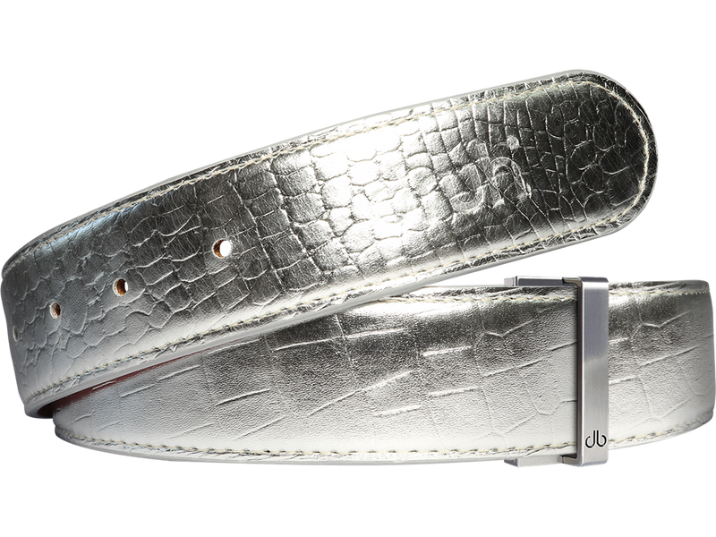Silver Crocodile Textured Leather Belt