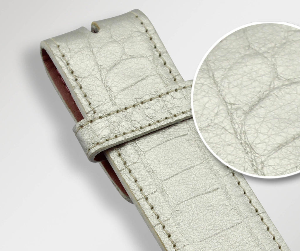 Silver Crocodile Leather Belt