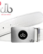 White Crocodile Leather Designer Golf Belt