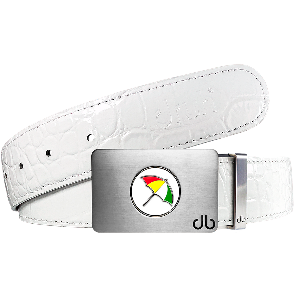 Arnold Palmer Ballmarker Buckle and Crocodile Leather Belt in White